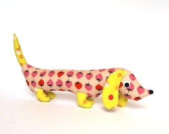 Stuffed Wiener Dog,  Doxie Softie,  Plush Dachshund, Weiner Dog Stuffie, Unique Baby Gift BERRY