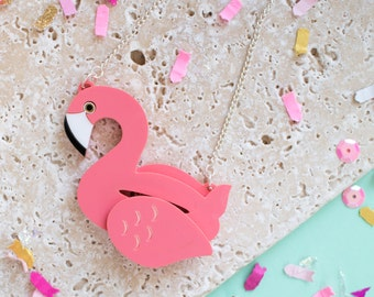 Flamingo Pool Float Necklace - flamingo necklace - flamingo gift - flamingo jewellery - palm springs - palm springs inspired