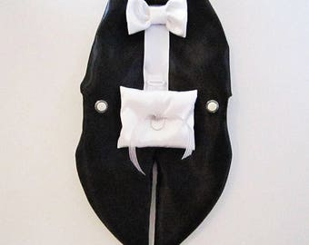 Dog Tuxedo Harness Vest: Ring Bearer Formal Wedding Wear For Dogs  White or Black off white New Light gray Linen color