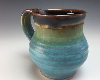 Handmade Pottery Mug Brown and Turquoise