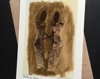 My Sister Sepia-Blank Art Card-African Wonen