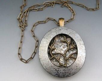 Winter Branch polymer pendant on chain