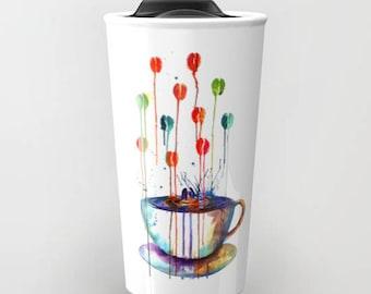 Coffee travel mug watercolor coffee watercolor mug ceramic travel mug Coffee  Teacher gift cute travel mug gift for dad