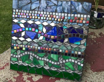Atmosphere Stained Glass and Tile Mosaic on wood