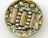 "Victorian Metal Openwork BELT BUCKLE  Picture Button with Cut Steels Antique Pictorial  1""  inch 3030"