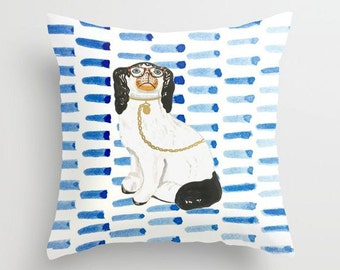 BESPECTACLED ON BLUE - Right Facing Pillow 4 sizes -  (indoor and outdoor fabrics)