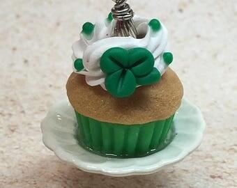 Miniature Shamrock Cupcake Charm from My Bead Garden