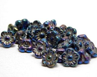 Flower Beads - Czech Flowers - Button Flower - Flower Button - Czech Glass Beads -  25pcs (2503)