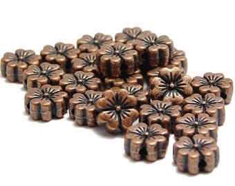 Copper Beads - Copper Spacers - Flower Beads - Flower Spacers - Antique Copper - Metal Beads - Hawaiian Flower Beads - 24pcs (B559)