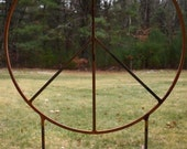 Huge 42 inch diameter Metal Peace Signs with two 32 inch tall legs