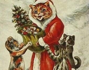 Santa Kitty Cross Stitch Pattern Chart PDF