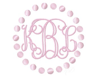 Pearl Circle Embroidery Design Monogram Lace Circle Frame BX Instant download PES  4x4 5x7 6x10