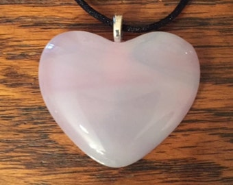 Pink Wispy Fused Glass Heart Pendant With Silk Necklace