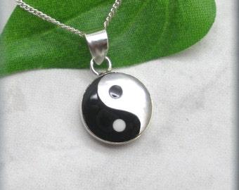 Yin Yang Necklace, Black White Jewelry, Sterling Silver, Zen Pendant, Hippie, Balance Necklace, Tai Chi, Taiqi, Yoga, Spiritual (SN978)