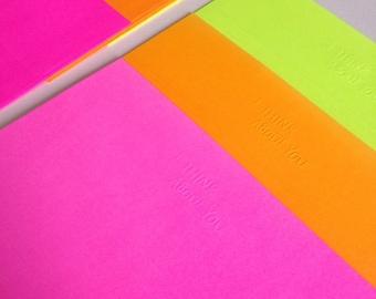 stationary letter + envelope set ++ set of 3 neon embossed notepads m ++ unique Korean stationary