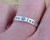 Paw Print Ring, Stackable Ring, Custom Personalized Ring, Sterling Silver, Pet Ring, Pet Mom, Love My Dog, Wide Style