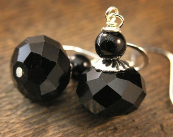 SALE Black faceted swarovski crystal, glass beads handmade silver earrings