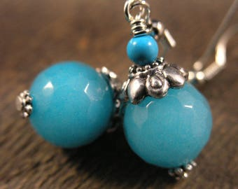 Aqua blue faceted stone beads, turquoise stones and silver handmade earrings