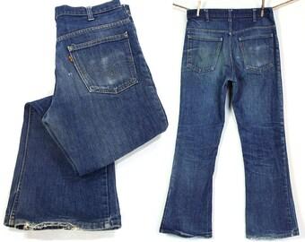 "70s Bell Bottom Levi's Jeans / Vintage 1970s Denim Flares / High Waist Orange Tab 646 Bellbottoms / Distressed Faded Worn In / 33"" x 31"""