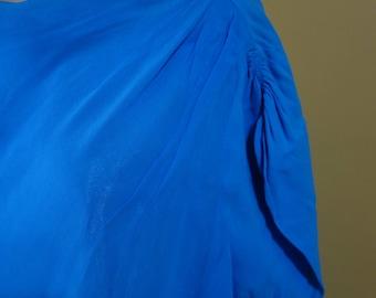 Plus Size 44 Bust 1960s Vintage Blue Chiffon over Acetate Party Dress Full Skirt Pin Up Rockabilly Viva Las Vegas
