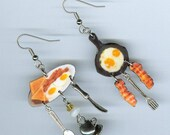 Bacon and Egg Earrings - Diner breakfast jewelry coffee eggs - waitress coffee shop restaurant food server gift - earring Designs by Annette
