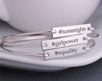 Custom Hashtag Jewelry,  Custom Hashtag Bangle Bracelets, Women's Rights Jewelry, Equality, Feminism Jewelry