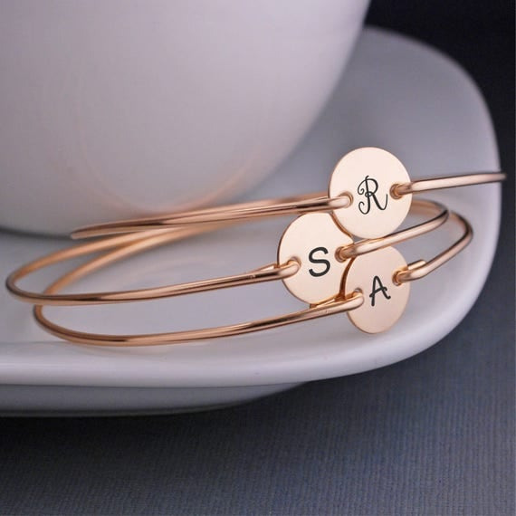Bridesmaid Gifts, FIVE, Gold Personalized Bridesmaid Gift, Bridesmaid Jewelry, Bridesmaid Initial Charm Jewelry