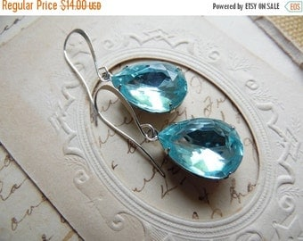 SALE aqua earrings, Turquoise earrings, blue topaz earrings, blue crystal earrings, aquamarine earrings, Downton Abbey jewelry.