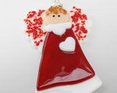 Small White and Red Fused Glass Angel, Valentine Angel, Holiday Angel, Stained Glass Angel Suncatcher, Angel Ornament - Here's my Heart