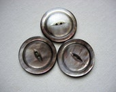 Three Large Vintage Smokey Gray Mother of Pearl Shell Buttons