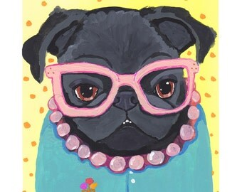 Pug Gift, Pug Wall Art, Black Pug Folk Art Painting Print, Gifts for Her, Dog Lover Gift, Quirky Home Decor Living Room Art, Librarian Gift