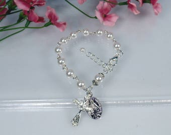 First Communion Bracelet First Communion Gift Girl's Rosary Bracelet  Child Rosary Bracelet Flower Girl Gift