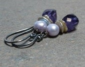 Purple Amethyst Earrings Geometric Jewelry February Birthstone Earrings Lavender Pearls Oxidized Sterling Silver Earrings