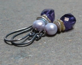 Purple Amethyst Earrings Geometric Jewelry February Birthstone Earrings Lavender Pearls Oxidized Sterling Silver Earrings