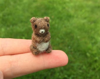 Felted Miniature Brown Bear Tiny Figure Needle Felted