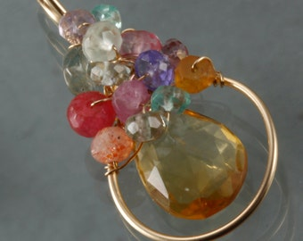 Citrine  & Multi Stone Wire Wrapped Pendant