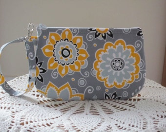 Wristlet Zipper Gadget Purse Pouch in Dots in Funky Flowers in Gray
