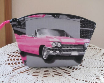 Retro Cosmetic Bag Clutch Zipper Purse  Pink Cadillac  Car Made in the USA