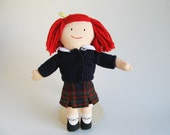 Vintage Small Madeline Doll wearing School Uniform by Eden 1990s Toys Blue Sweater Tartan Skirt