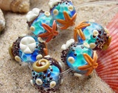 To View the Sea - Set of 6 Round SRA Lampwork Glass Beads