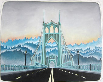 Art - Oil Painting - Painting - St Johns Bridge Painting - Portland Art - Portland Painting - 8x10 Oil Painting - St Johns Bridge