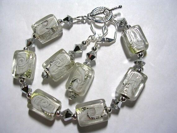 Silver Foil White Lampwork Bracelet and Earring set Swarovski Crystal Leverback Hooks Toggle Clasp Gifts under 10