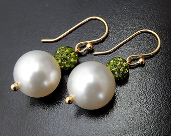 Pearl Earrings, Swarovski Crystal Bridal Earrings, Olive Green Pave Wedding Jewelry