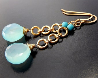 Blue Chalcedony Earrings, Gold Vermeil Drops, Gemstone Teardrop Dangle Earrings