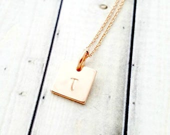rose gold necklace-rose gold initial necklace-personalized necklace-initial necklace-initial jewelry-minimalist jewelry