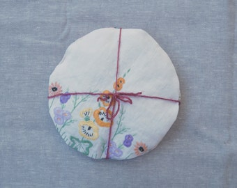 linen lavender sachets - set of two with vintage embroidery