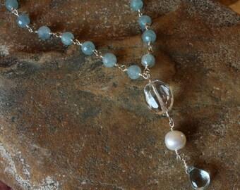 Blue Topaz Clear Quartz Sterling Silver Wire Wrapped Necklace, Blue Quartz Necklace, Gemstone Necklace, Blue and White Necklace, Y Necklace