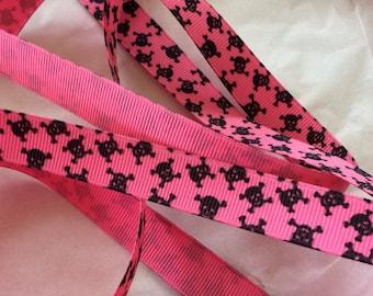 "Pink Skull And Crossbones Grosgrain Ribbon 5/8"""