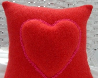 Recycled Cashmere Sweater Pillow for Valentine's Day, Wedding Gift - Large Heart