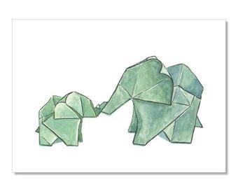 Origami Elephants Archival Print